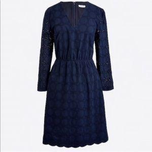 J Crew Long Sleeve Navy Eyelette Party Dress H8471